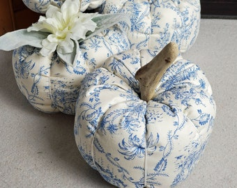 Blue Toile Fabric Pumpkin with a driftwood stem; with or without floral