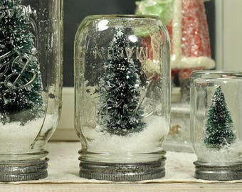 "5"" Ball Mason Jar Dry Snow Globe Bottlebrush Tree Upcycled Christmas Decor Table Centerpiece"