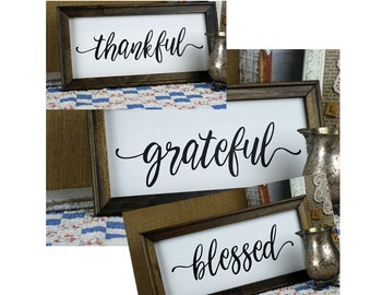 Farmhouse Sign, Thankful, Grateful, or Blessed, Distressed style,  rustic wood frame, canvas sign, new home gift, housewarming, shower