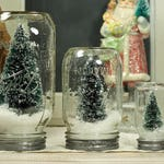 "5"" Ball Mason Jar Dry Snow Globe Bottlebrush Tree Upcycled Christmas Decor Table Centerpiece"
