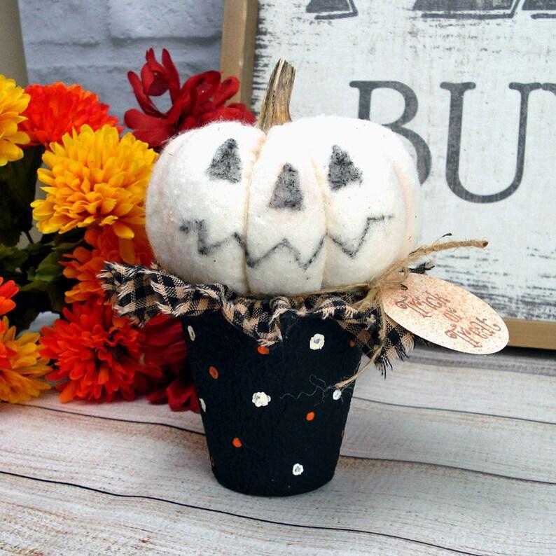 Fabric Pumpkin Jack-O-Lantern in a Pot Punkin Peat image 0