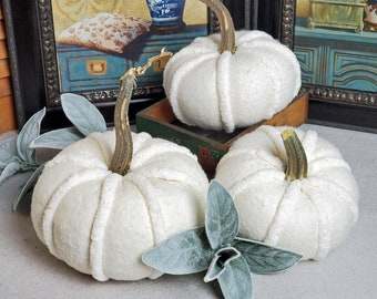 White Pumpkins - Bumpy Whites Soft Fabric Natural Look Pumpkins with Real Stems Choice of sizes