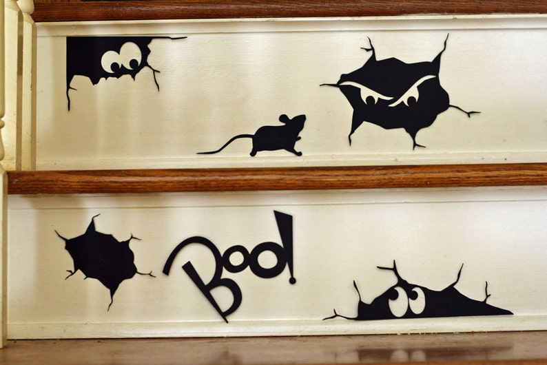 Creepy Cracks Halloween Vinyl Wall Decal Silhouettes Stair image 0