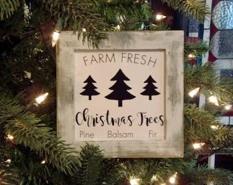 Mini Sign Farm Fresh Christmas Trees Wall or Shelf Farmhouse Decor Print