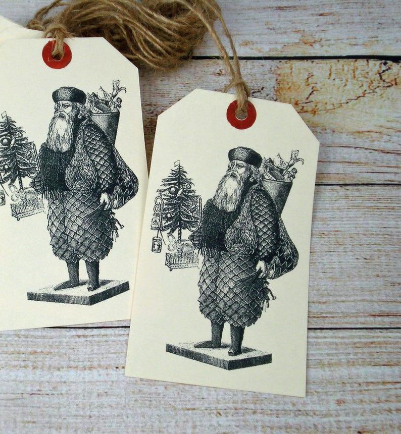 Large Christmas Gift Tag Set of 6 Victorian Santa Image Hang image 0