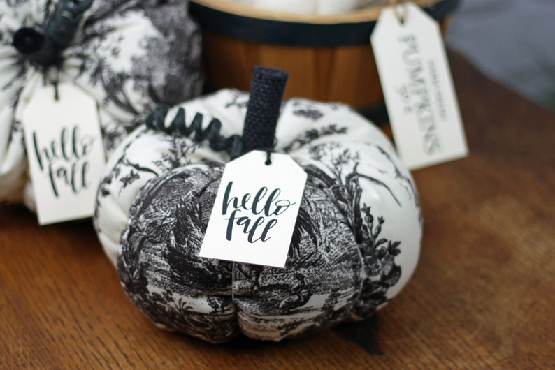Toile Fabric Pumpkin Black and White Rustic Cottage Chic Fall image 0
