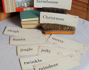 Christmas Flash Cards Distressed Vintage Style Set of 9 Large Size Farmhouse merry jolly Santa jingle twinkle reindeer sleigh