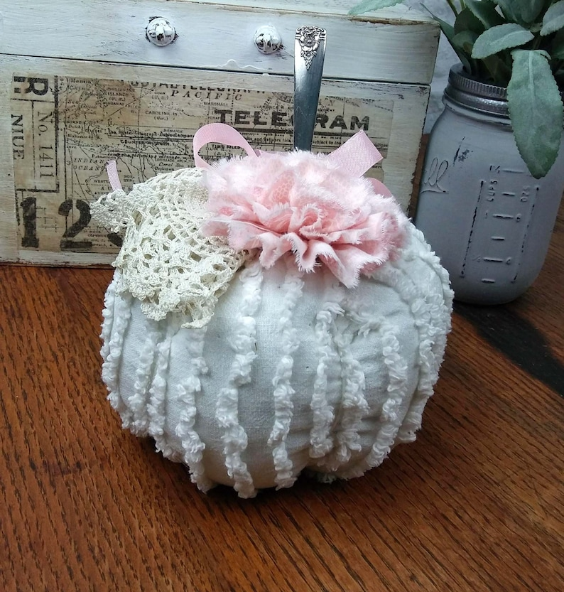 White and Pink Chenille Fabric Pumpkin with a  Vintage Silver image 0