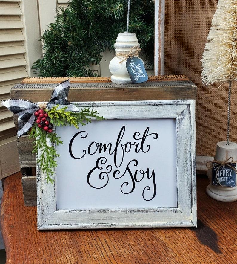 Small Sign Comfort and Joy Wall or Shelf Farmhouse Decor Print image 0