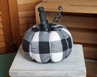 """Mini Black and White Buffalo Plaid Fabric Pumpkin One 4"""" Soft Fabric Pumpkin with Black Stem and tendril Bowl Filler Tiered Tray Size 102231"""