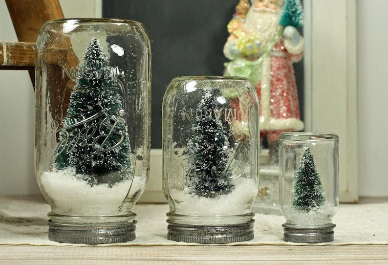 3 Ball Mason Jar Dry Snow Globe Bottlebrush Tree image 0