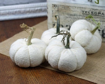 """White Pumpkins - Mini Whites set of 3 (3.5"""") Baby Boos Soft Fabric Natural Look Pumpkins with Real Stems Modern Farmhouse Tiered Tray decor"""