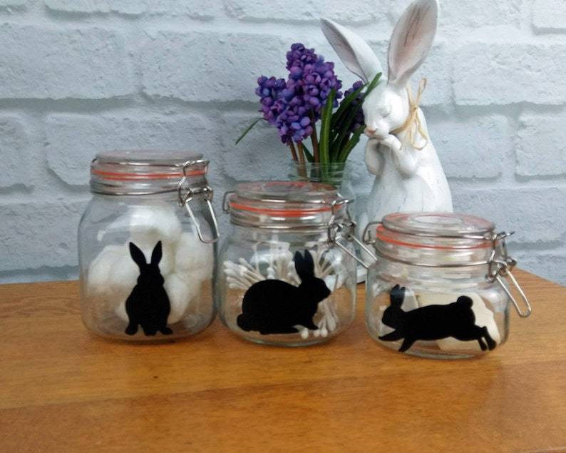 Easter Bunny Decals 5 Vinyl Rabbit Sticker Set Cup Jar Label image 0