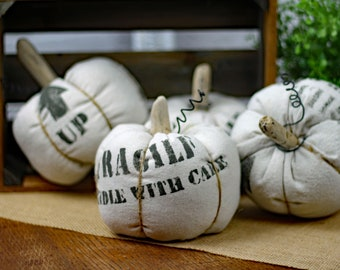 Fabric Pumpkin Industrial Pallet Typography Label Fragile Distressed Rustic Gourd Driftwood Stem