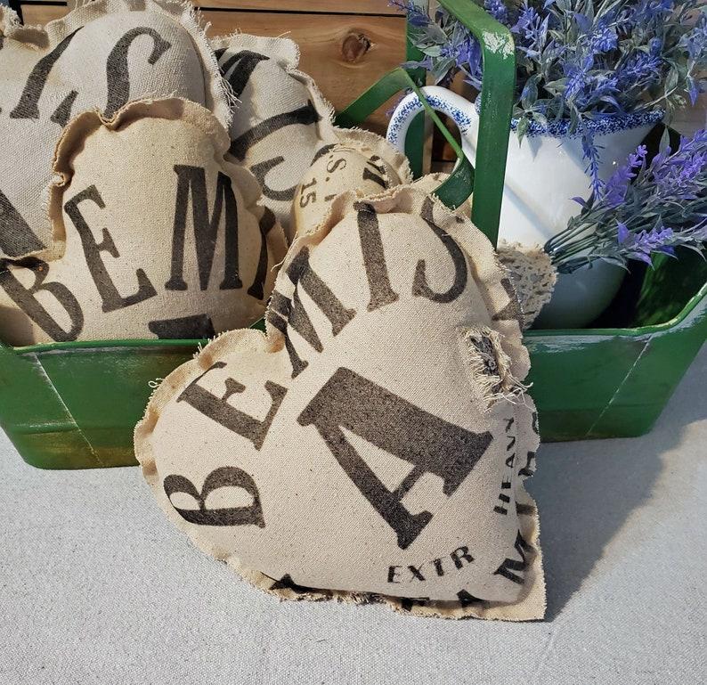 Heart Mini Pillow Antique Flour Grain Sack Tattered Rustic image 0