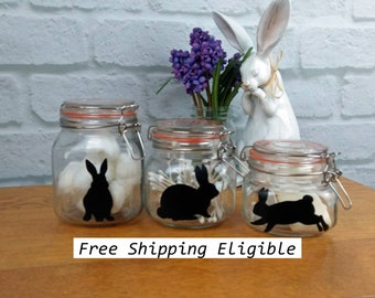 Easter Bunny Decals (5) Vinyl Rabbit Sticker Cup Jar Label Gift for Her Housewarming Spring Decor Farmhouse style Black or White (202001044)