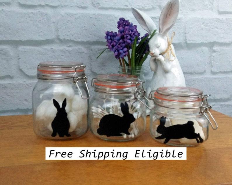 Easter Bunny Decals 5 Vinyl Rabbit Sticker Cup Jar Label image 0