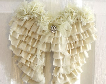 Shabby Angel Wings Wall Decor Ruffled Cottage Chic Nursery Decor Wedding Decor Remembrance