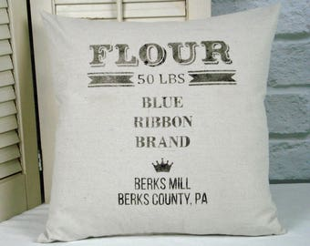 Flour Sack Farmhouse Pillow Cover or Complete Pillow, grain sack, canvas pillow, graphic pillow, rustic decor, cottage chic, shabby style
