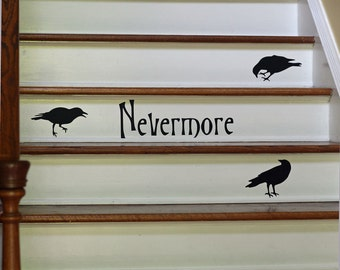 Halloween Decor Wall Decal Nevermore Ravens Vinyl Silhouettes Stair Decal Removable