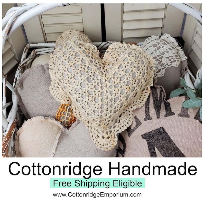 Heart Mini Pillow Antique Crochet Flour Grain Sack Tattered image 0