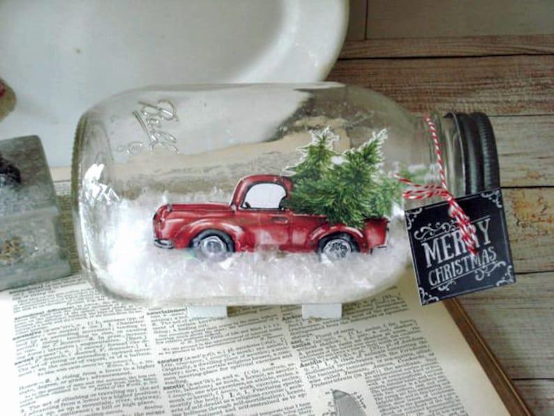Mason Jar Dry Snow Globe Red Pickup Truck with Christmas trees image 0