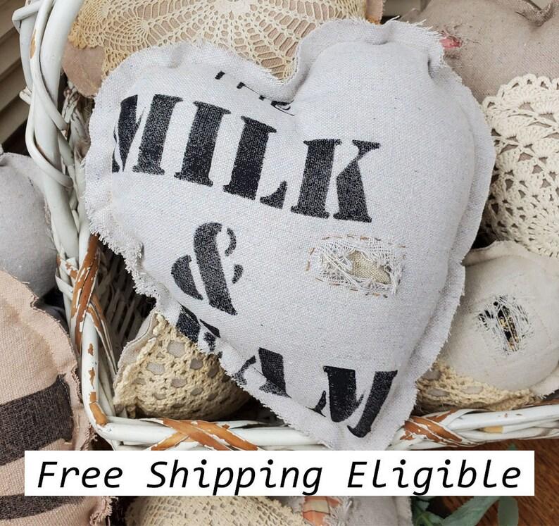 Heart Mini Pillow Antique Repro Flour Grain Sack Tattered image 0