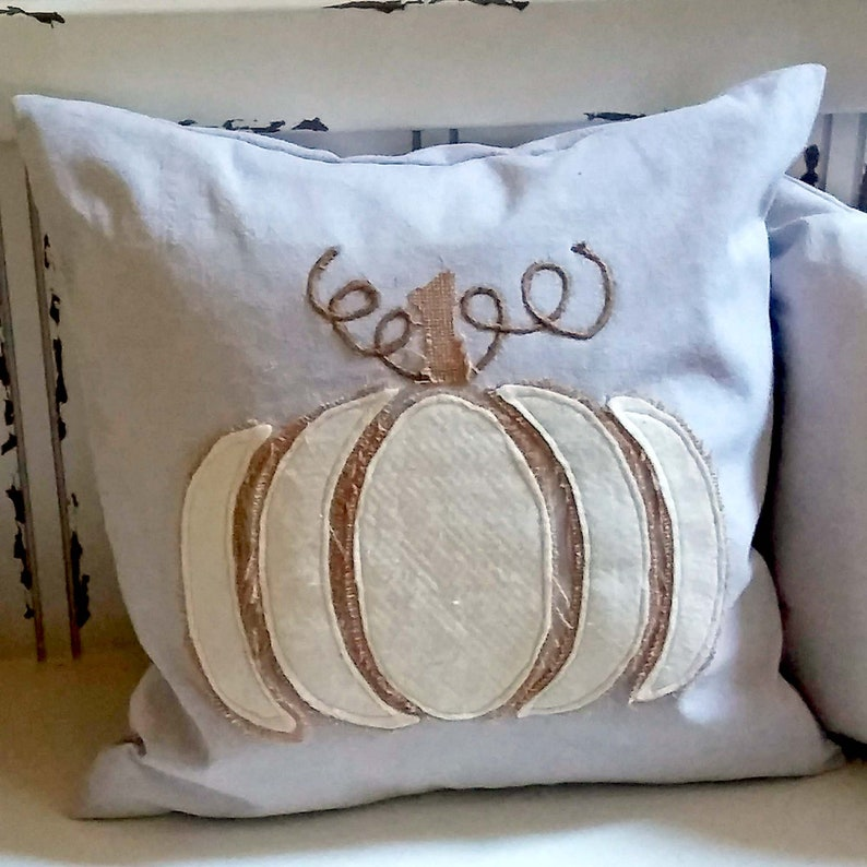 Tattered Pumpkin Pillow Cover or Complete Pillow Cotton image 0