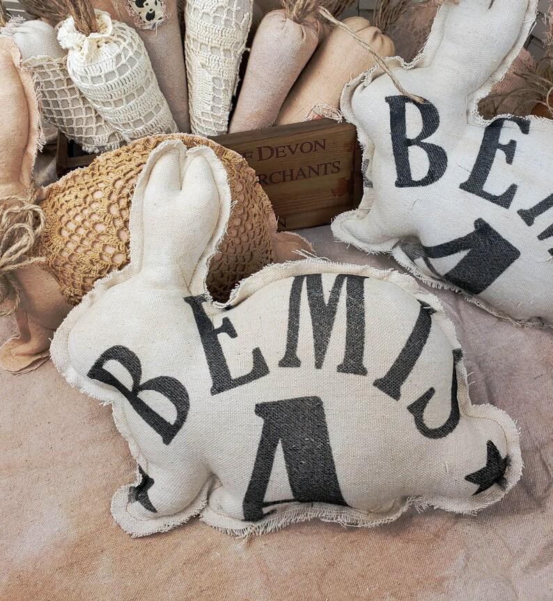 Bunny Rabbit Pillow Reproduction Antique Flour Sack Bemis A image 0