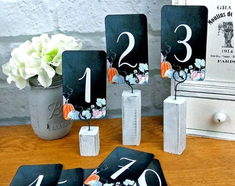 Pumpkin Wedding Table Numbers Fall Events Watercolor Pumpkins on Chalkboard Style Seating Tag Gift Hangtag