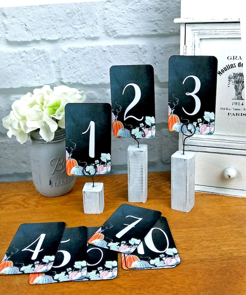 Pumpkin Wedding Table Numbers Fall Events Watercolor Pumpkins image 0