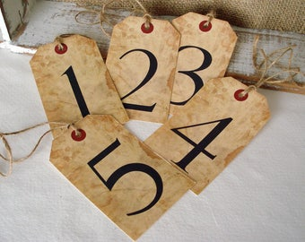 Tag set of 10 Tea Stained Look Numbered Tag Event Seating Hang Tag Engagement Party Anniversary Dinner Birthday
