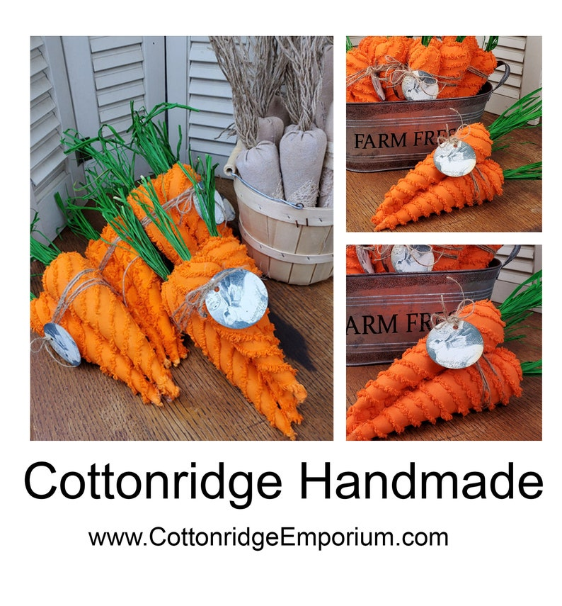 Chenille Fabric Carrots Set of 3 Easter Decor Spring Farmhouse image 0