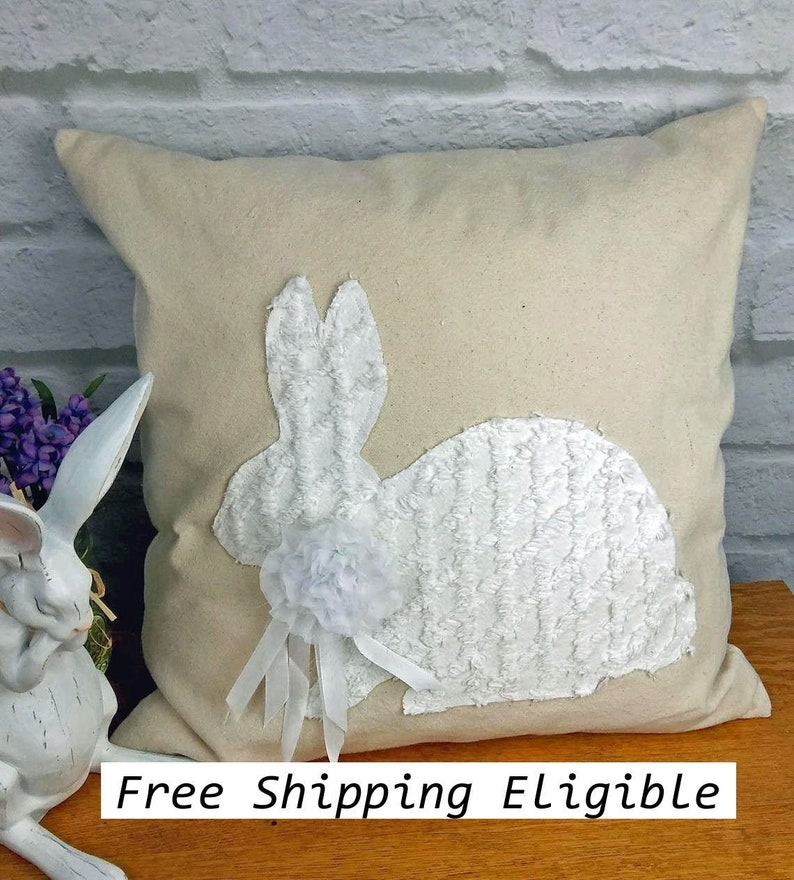 Chenille Rabbit Pillow Cover or Complete Pillow Cotton Canvas image 0