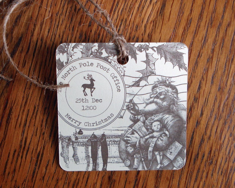 Christmas Gift Tags North Pole Post Office Stamp Vintage Style image 0