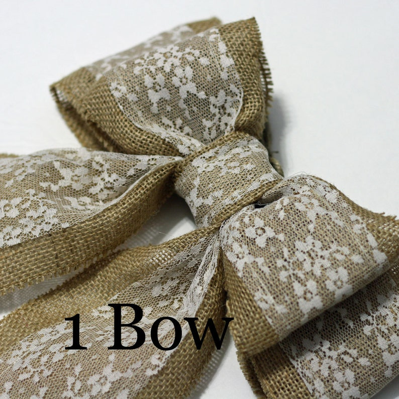1 Burlap Pew Bow Chair Bow or Curtain Tieback Large Double image 0