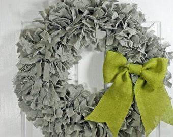 """24"""" Burlap Wreath Choice of Color Rag Wreath Year Round Wreath Burlap Rag Wreath"""