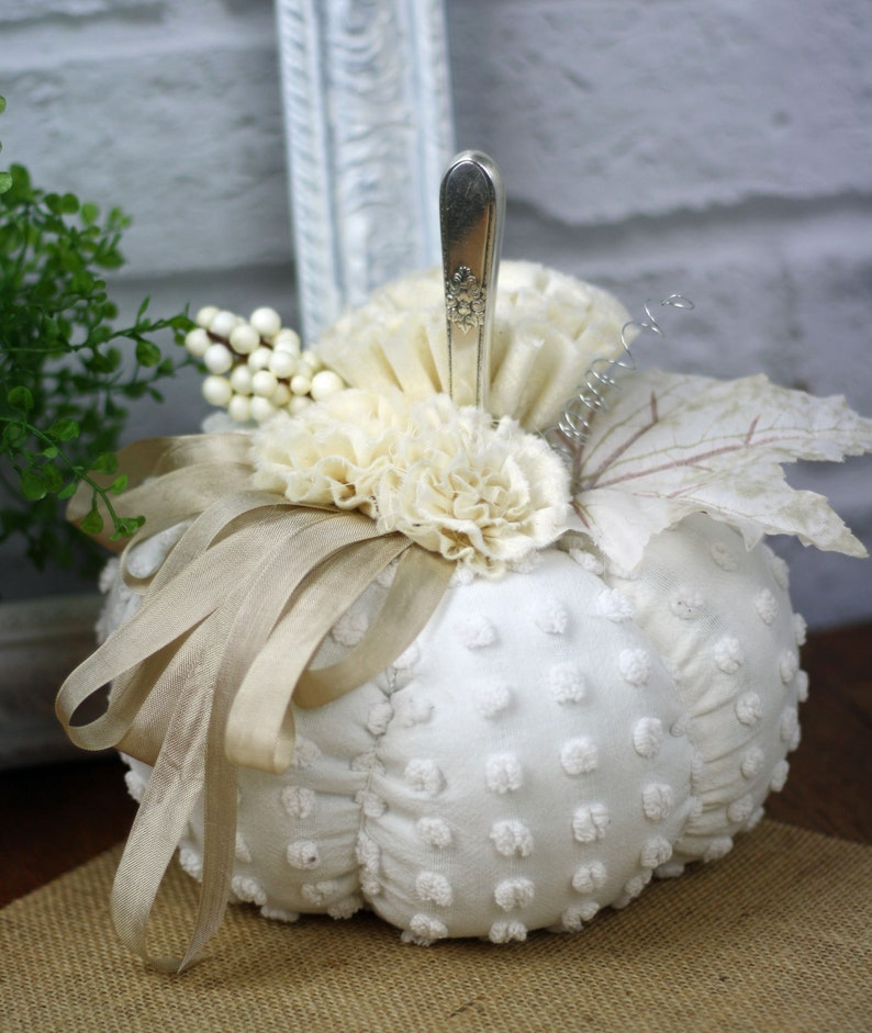 White Chenille Fabric Pumpkin with a  Vintage Silver Stem image 0
