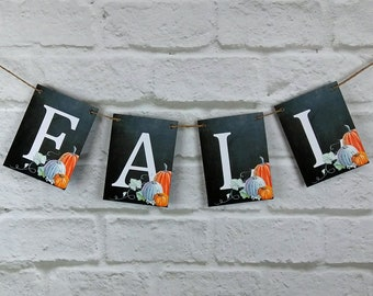Fall - Autumn Chalkboard Style Bunting with Pumpkins, wedding bunting, event banner, photo prop party backdrop, decor sign