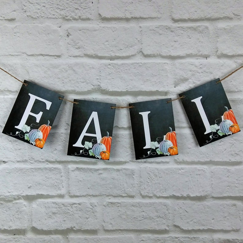 Fall  Autumn Chalkboard Style Bunting with Pumpkins wedding image 0