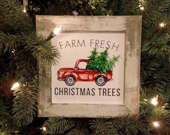 Mini Sign Red Truck Farm Fresh Christmas Trees Wall or Shelf Farmhouse Decor Print