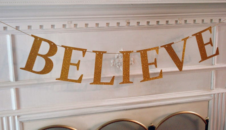 Believe Christmas Banner Glitter Party Bunting photo prop image 0
