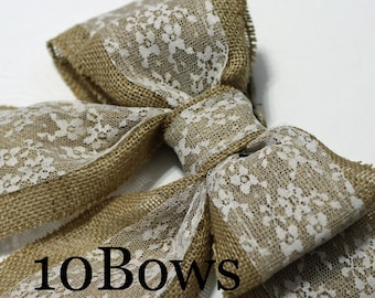 Set of 10 Burlap Pew Bows or Chair Bows, Large Double Bows, Natural Color Burlap and white lace, Rustic Country Chic Wedding Decor Shabby