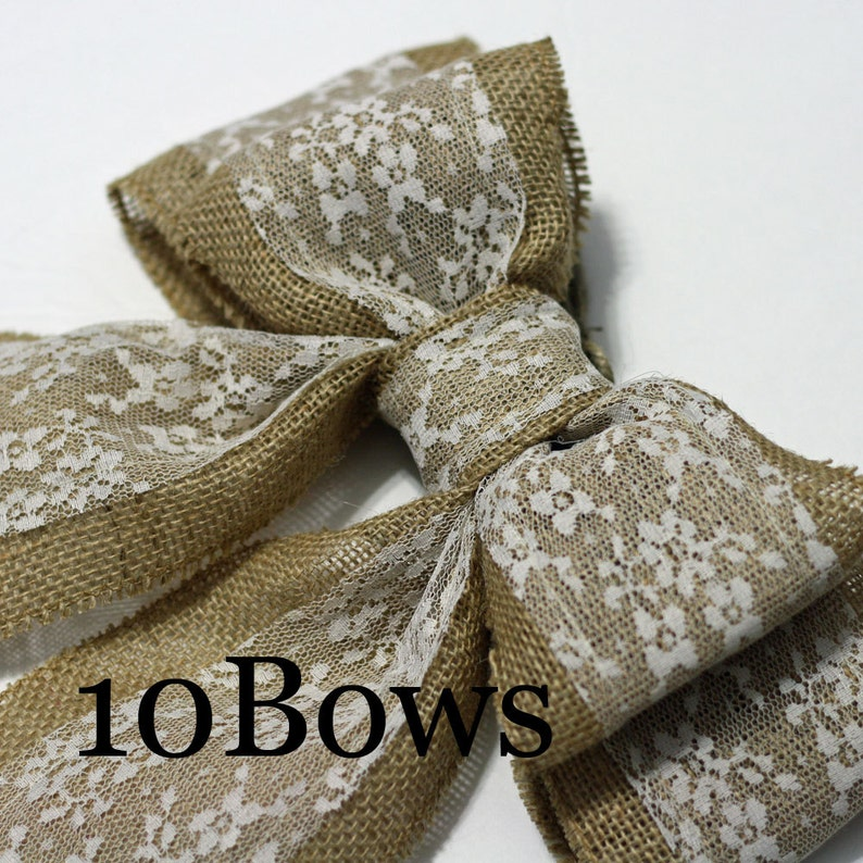 Set of 10 Burlap Pew Bows or Chair Bows Large Double Bows image 0