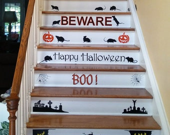 Creepy Stairs Vinyl Wall Decal Silhouettes Stair Riser Removable Vinyl Happy Halloween Decor Ultimate Stairway