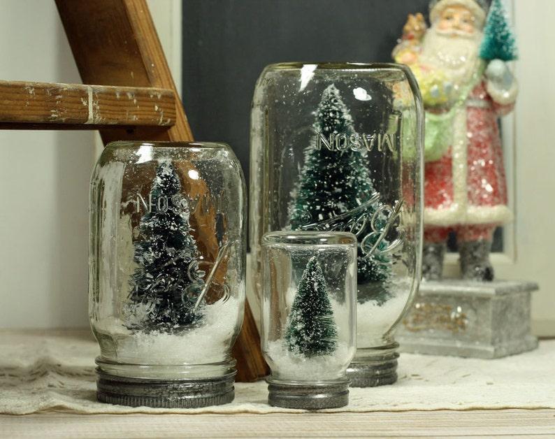 Set of 3 Ball Mason Jar Snowglobes Dry Snow Globe Bottlebrush image 0