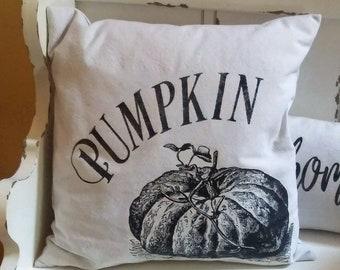 Pumpkin Pillow Cover or Complete Pillow, Cotton Canvas, Farmhouse Decor, Cottage Style, Housewarming Gift Idea, 18x18 size