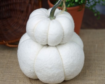 White Pumpkin Stack - Double with Real Dried Stem Farmhouse Centerpiece