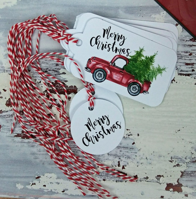 Merry Christmas Red Truck with Christmas Trees Gift Tags Set image 0