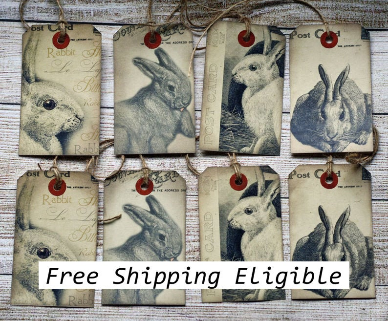 Bunny Gift Tag Prim Rabbit Vintage Style Hangtags Easter image 0